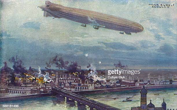 World War I bombardment of Warsaw by the airship SchutteLanz Watercolour by Hans Rudolf Schulze Postcard printed in Berlin