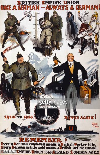 World War I British propaganda poster showing caricatures of Germans including wartime scenes of past violence cruelty and drunkenness and then a...