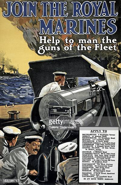 World War I British propaganda poster showing marines operating a large cannon on a ship Original title Join the Royal Marines Help to man the guns...