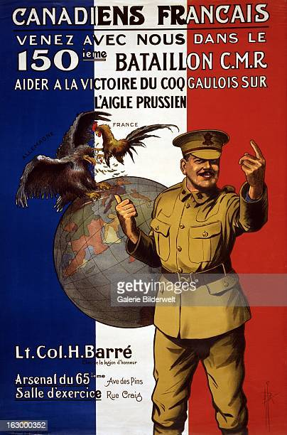 World War I Canadian propaganda poster showing against backdrop of the tricouleurs hero Lt Col H Barré pointing to a scene of a cock 'France'...