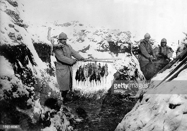 World War I Champagne front Hunting rats in the snowcovered trenches 1916
