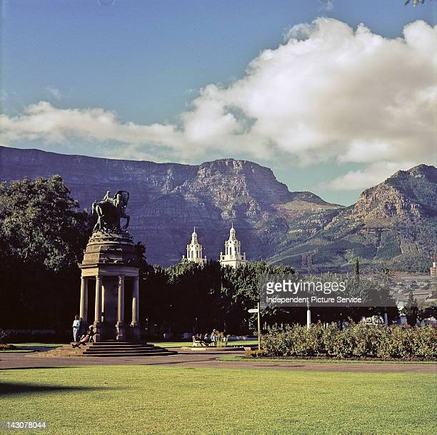 World War I Delville Wood Memorial with the Towers of the Garden Synagogue and Table Mountain National Park in the background Cape Town South Africa