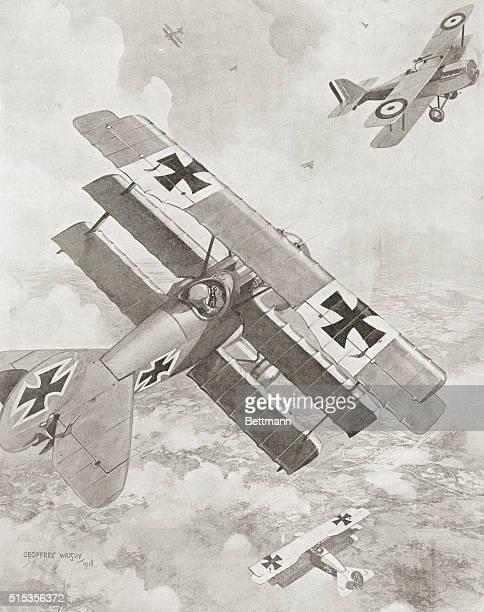 Fokker tripoe plane taking on British double decker 1918