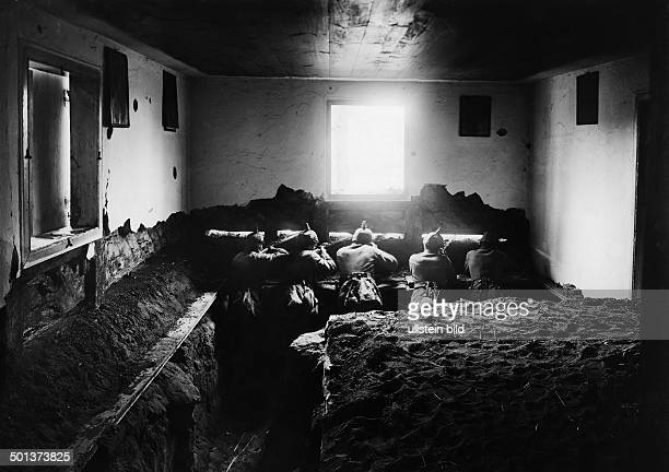 Battle of Tannenberg German soldiers in a dugout inside of a Masurian farmhouse August 1914