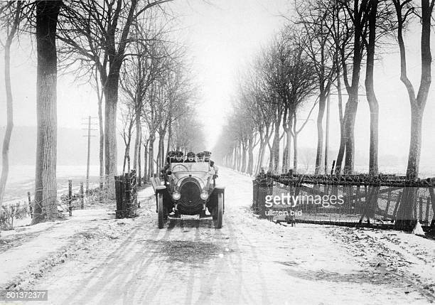 German military car passes a road barrier coming from the area beyond Tilsit that is in reach of the Russian troups February 1915