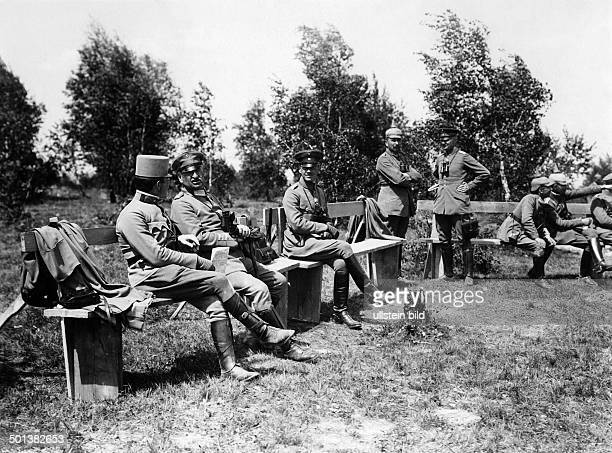 the commander of the German Army Group South colonel general Alexander von Linsingen and Prince Georg of Bavaria next to him on the theatre of war in...