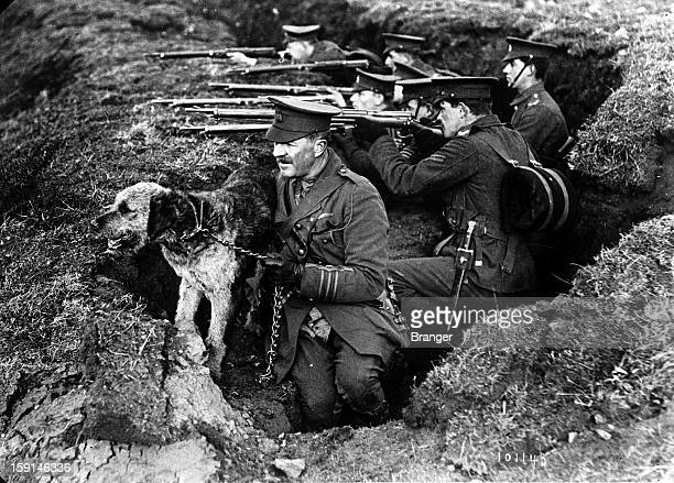 World War I English Captain Richardson with his dog in 1914