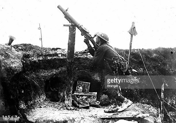 World War I English front Machine gun at an antiaircraft defence post 1918