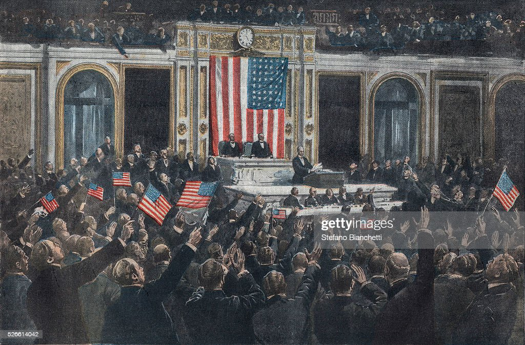 World War I, Entry of the United States into the War, April 1917, President Thomas Woodrow Wilson (1856-1924) asks the U,S, congress to declare war to Germany and receives an enthusiastic response, Illustration from French newspaper 'Le petit journal' , April 22, 1917,