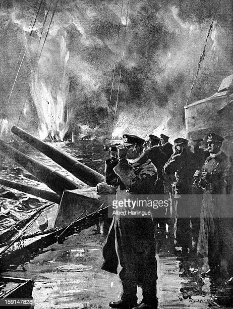 World War I Episode of the Battle of Jutland German officers aboard a warship observing the demise of the English vessels that they sunk Drawing by...