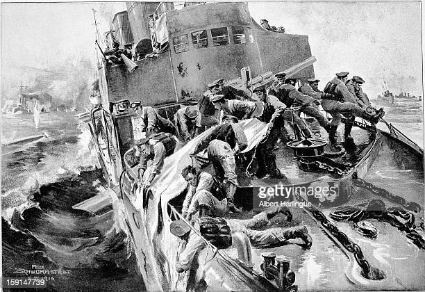 World War I Episode of the Battle of Jutland Repairing a leak with cloth on a German destroyertorpedo boat Drawing by Félix Schwormstadt...