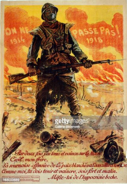 World War I French propaganda poster showing a soldier standing on a battlefield wearing gas mask around his neck Poison gas was first used in World...