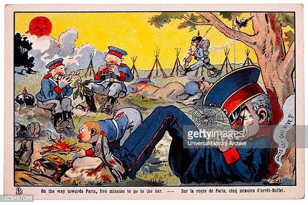 World War I French Satirical Card On the way Towards Paris Five Minutes to go to the Bar circa 1918
