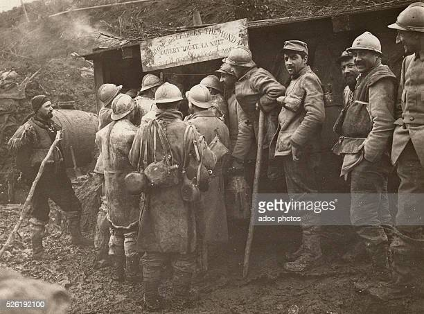 World War I French soldiers going to the Tea Room of Eparges In 1916