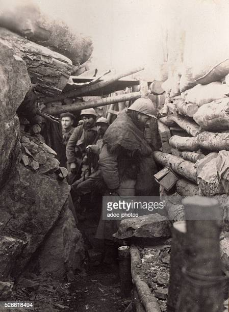 World War I French soldiers in a trench during the winter in Alsace In January 1916