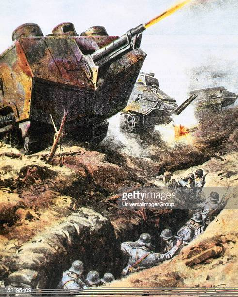 World War I , French tanks attacking the German lines near Reims, Spring 1918.