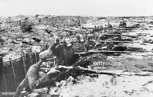 World War I Gas warfare German trench in Flanders Soldiers with gas masks in defensive position during a gas attack End of 1915