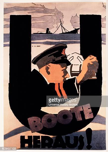 World War I German Poster by Hans Rudi Erdt UBoote Heraus circa 1917