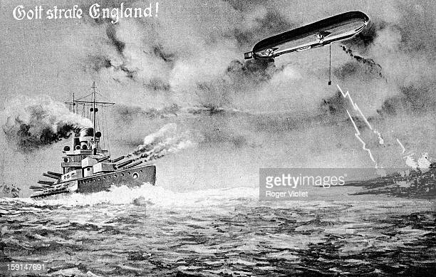 World War I German warship and zeppelin firing on England German postcard 'God punish England'