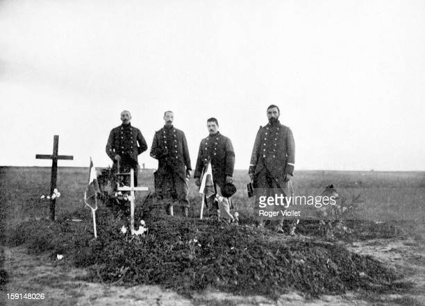 World War I, Graves of French soldiers killed in the Battle of the Marne. September 1914.