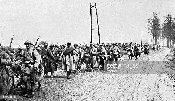 World War I Infantry regiment coming back from the front in the French lines between Amiens and Montdidier
