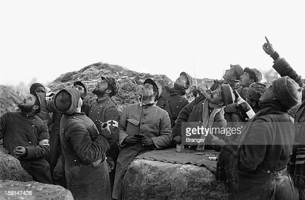 World War I Interrupted card game in a French trench along the front lines near Prosnes December 25 1914