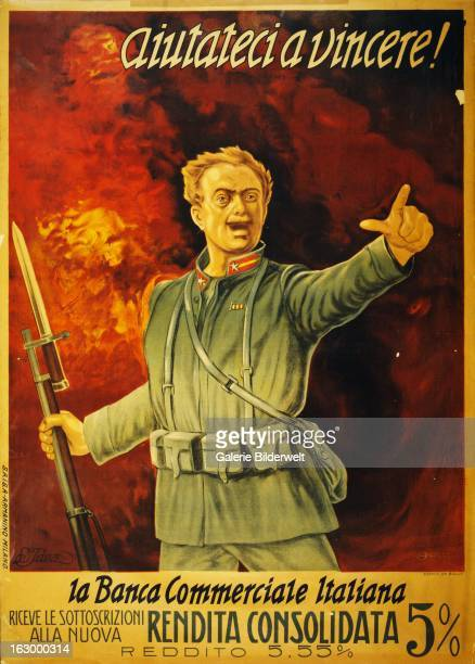World War I Italian propaganda poster showing an Italian soldier holding his bayoneted rifle in one hand and pointing with the other Behind him a...