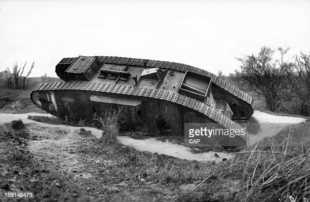 World War I, Mark IV English tank, German spoil of war, at the edge of the Châlons-sur-Marne road. La Pompelle.