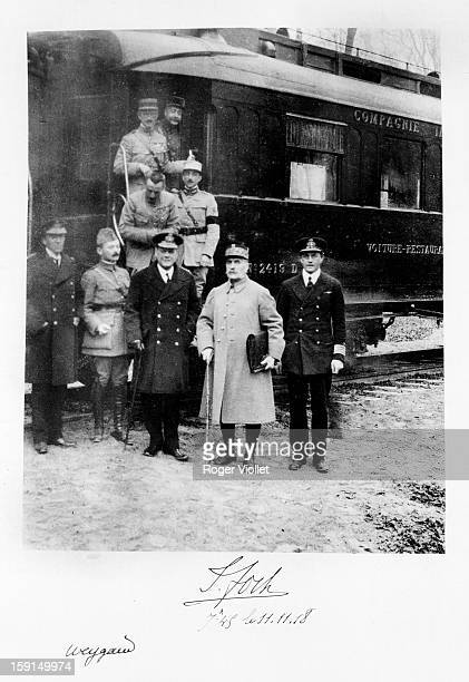 World War I Marshal Foch Admiral Wemyss General Weygand and their suite in front of the armistice carriage in Rethondes on November 11 1918