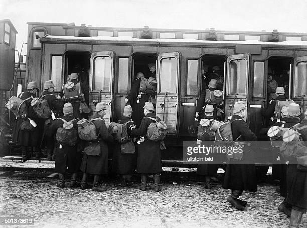 Landsturm unit departing from a railway station in Berlin to the front Probably in late autumn 1914