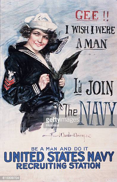 A World War I Navy recruiting poster issued by the US Navy Publicity Bureau in 1917