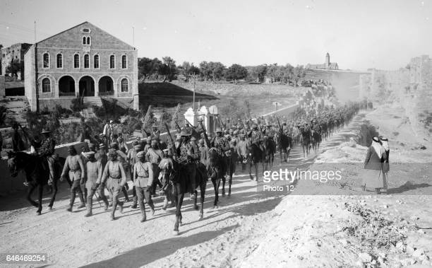 Palestine Front German officers leading column of 600 prisoners of the Ottoman/German army captured near Jericho 15 July 1918