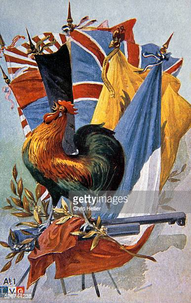 World War I Patriatic Postcard Depicting French Cockerel and Flags
