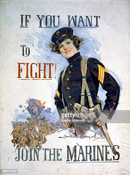 A World War I poster depicts a young female US Marine with the words 'If you want to fight Join the Marines' 1915 Artwork by Howard Chandler Christy