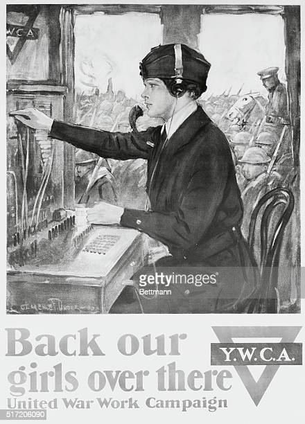 World War I poster showing Salvation Army girl operating switchboard 'Back Our Girls Over There'
