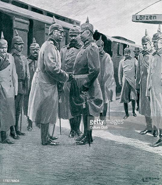 Reception of Frederick II Grand Duke of Baden by Field Marshal Paul von Hindenburg and General Erich Ludendorff at the trainstation in Gizycko Poland...