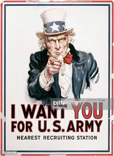 World War I recruiting poster Uncle Sam admonishes 'I WANT YOU FOR US ARMY' Undated painted illustration by James Montgomery Flagg
