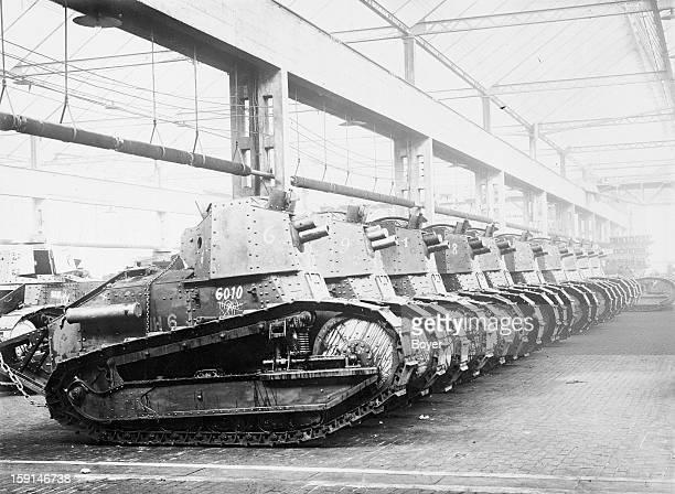 World War I, Renault tanks at the factory, France.