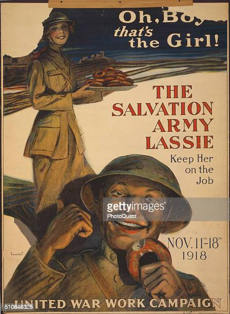 World War I Salvation Army poster 1918 'Oh boy that's the girl The Salvation Army lassiekeep her on the job' by GM Richards