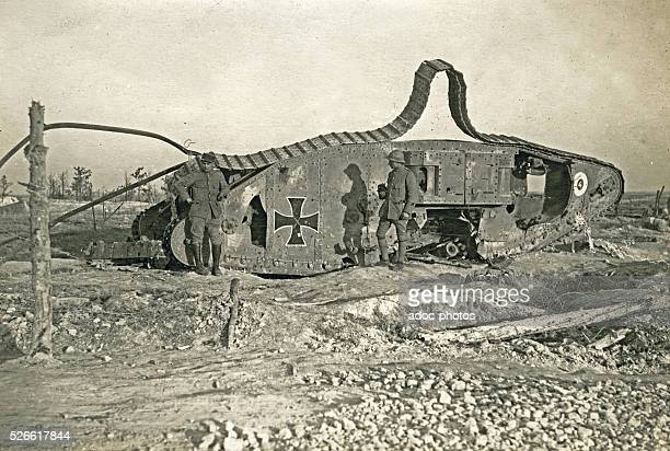 World War I Second Battle of the Marne English tank Mark IV captured and reused by the German army then destroyed by the French army in front of...