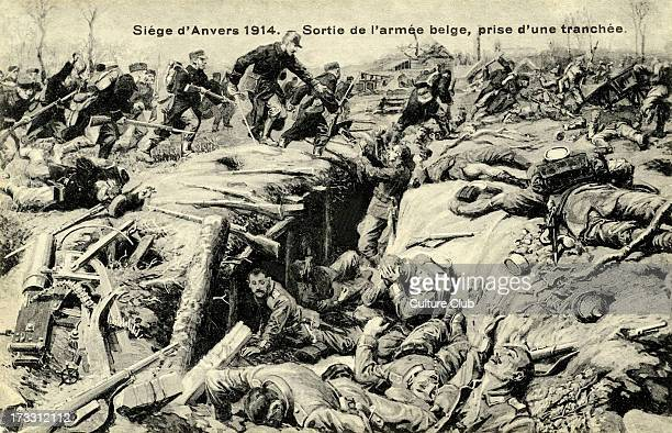 Siege of Antwerp 1914 The Belgian Army retreats from the German Army at the Siege of Antwerp 28 September 10 October 1914 French caption 'Siege...