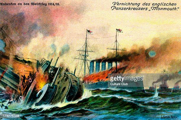 Sinking of British armoured cruiser HMS Monmouth November 1914 Defeat by German forces at Battle of Coronel Pacific Ocean off Chile Caption reads...