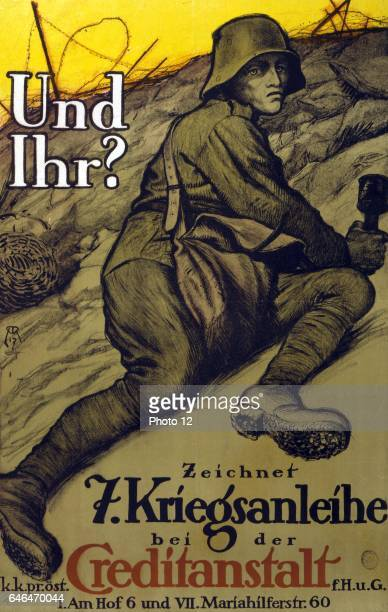 Soldier in a trench holding a grenade and about to 'go over the top' Text And you Subscribe to the 7th War Loan Austrian poster