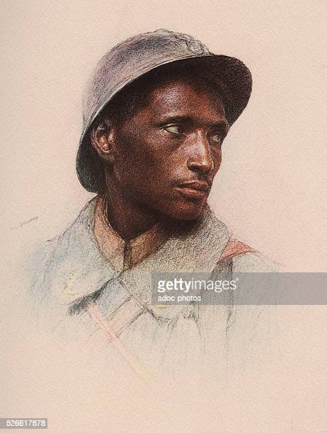 World War I Somali Skirmisher In 1917 Pastel by Eug��ne Burnand