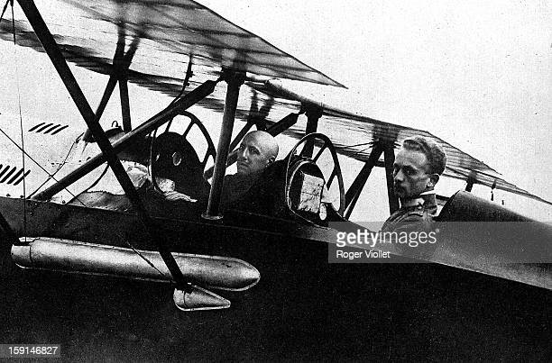World War I Squadron leader Gabriele D'Annunzio left and Captain Palli in the plane in which they flew over Vienna in August 1918