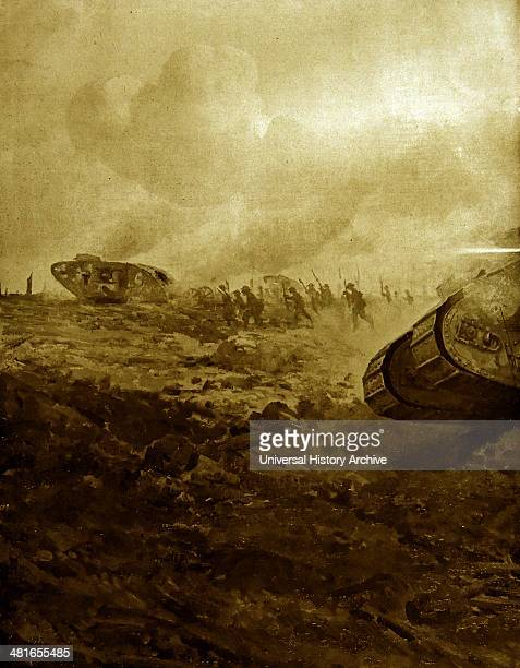World War I Tanks were used for the first time in action on the battlefield of the Somme on 15 September 1916 36 Mark 1 tanks of C and D Companies...