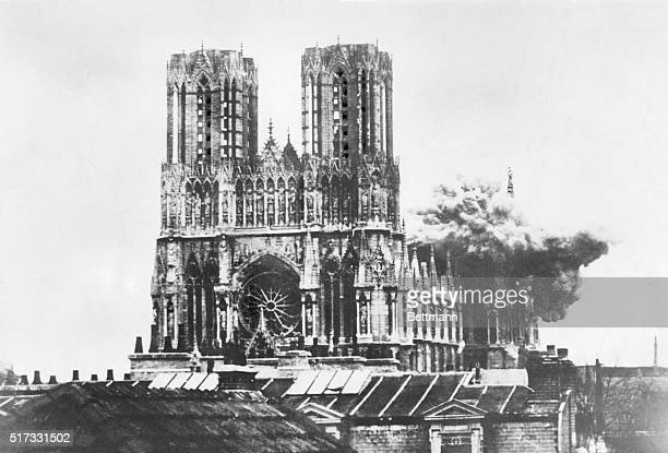 World War I The Cathedral of Rheims on fire after the shelling by the Germans Photograph Sept 1914