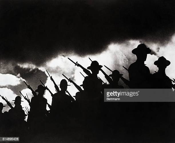 World War I The essence of the Doughboy A line of America's fighting men taken against a dawn sky