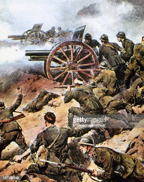World War I , ' THE ITALIAN ARTILLERY IN BATTLE OF PIAVE ', Fight between the Italian and Austro-German troops in the course of the river Piave, the...