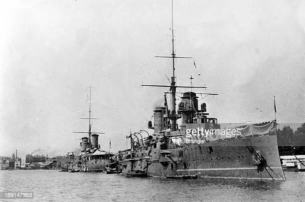 World War I The Italian fleet preparing for combat in Venice An armored 'Varese' battleship1914